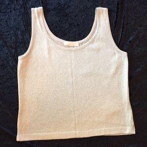 ST. JOHN Basics Shimmer Tank Silver Knit Shell Top